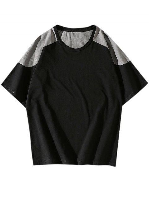 unique Colorblock Panel Short Sleeve Tee - BLACK XS Mobile