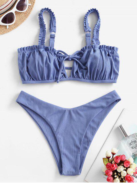 ZAFUL Bikini Acanalado de Corte Alto - Azul de Seda S Mobile