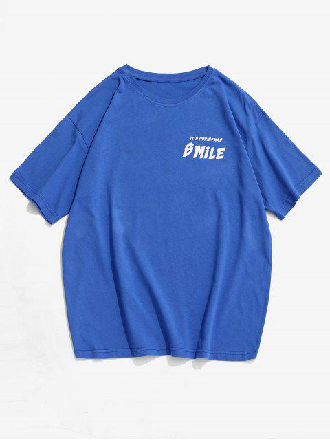 T-shirt Motif d'Animal Dessin Animé Souriant - Bleu 2XL Mobile