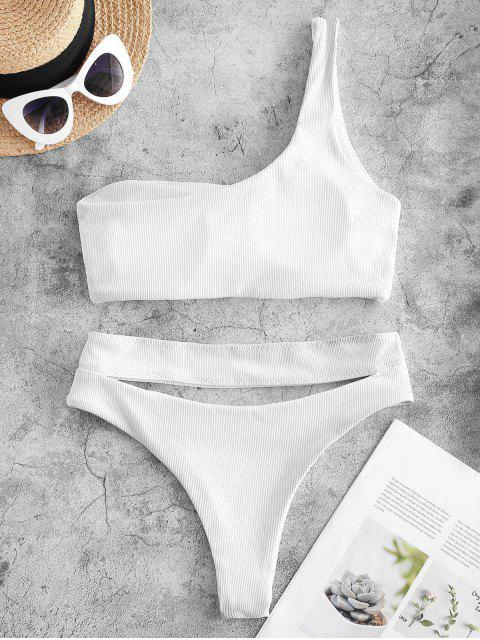 ladies ZAFUL Ribbed Cutout One Shoulder High Leg Bikini Swimwear - WHITE S Mobile
