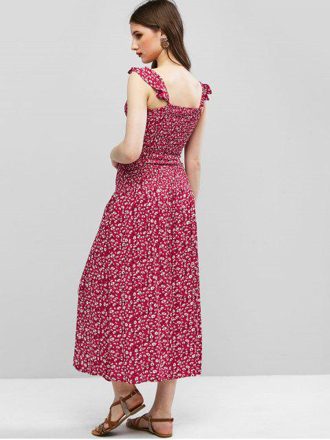 fashion Ditsy Floral Smocked Slit Two Piece Dress - CHERRY RED L Mobile