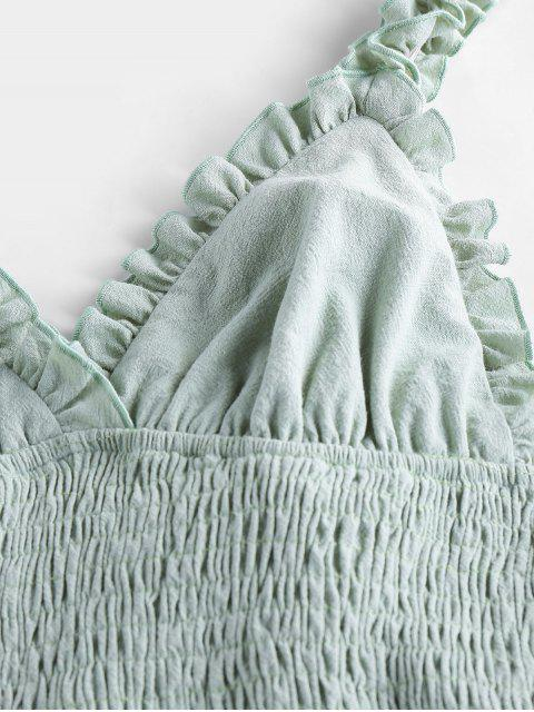 shop ZAFUL Smocked Ruffled Bodycon Dress - CYAN OPAQUE S Mobile