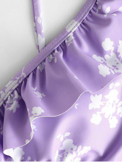 ZAFUL 小花柄フリルタイサイドビキニ水着 - 紫の S Mobile
