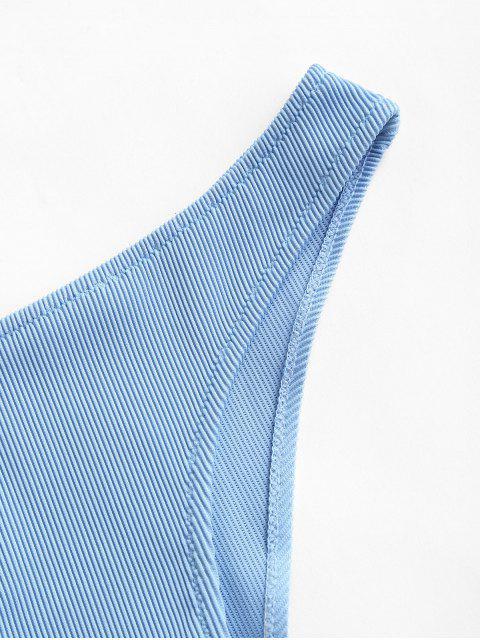 ZAFUL Bikinihose mit Gerippter Bikinihose mit Niedriger Taille - Denim Blau M Mobile