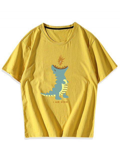Cartoon Dinosaur Graphic T-shirt - الأصفر XS Mobile