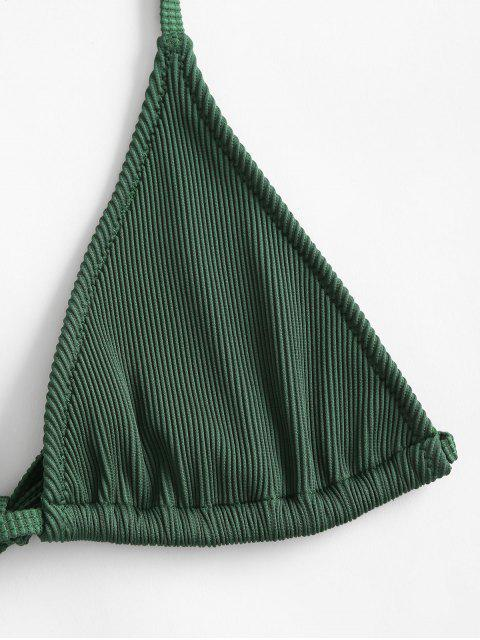 affordable ZAFUL Ribbed Halter Bralette Bikini Bra - DARK FOREST GREEN S Mobile