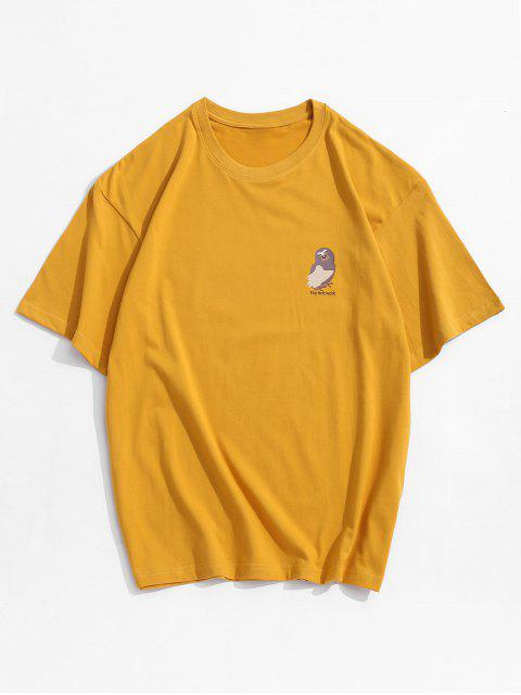 Short Sleeves Letters Bird Print Solid Tee - الأصفر XL Mobile