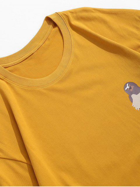 online Short Sleeves Letters Bird Print Solid Tee - YELLOW XL Mobile