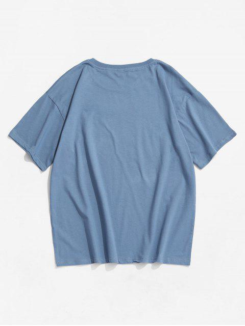 T-Shirt Basic con Stampa Lettere - Blu 2XL Mobile