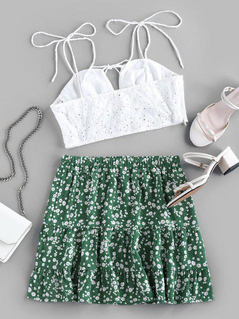 buy ZAFUL Embroidery Eyelet Tie Ditsy Floral Two Piece Set - SEA GREEN XL Mobile