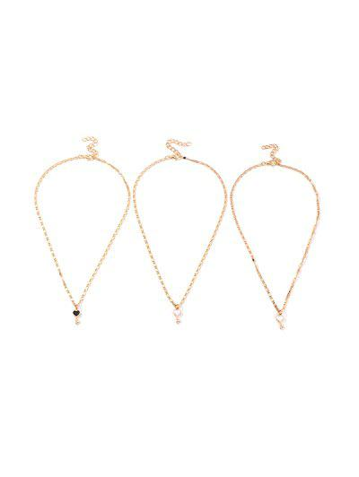 3Pcs Heart Key Pendant Necklace Set