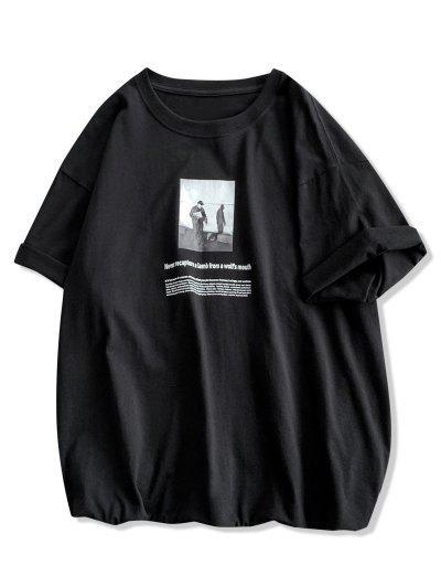 Manga De La Impresión De La Letra Camiseta Ocasional - Negro M
