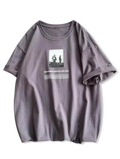 Photographic Letter Print Casual T-shirt - Dark Gray M
