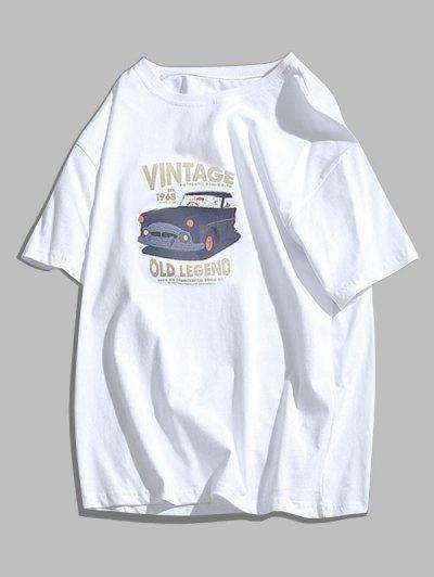 Car Print Round Neck Graphic T-shirt - White M