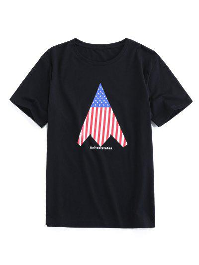 ZAFUL American Flag Print Round Neck T-shirt - Black 2xl
