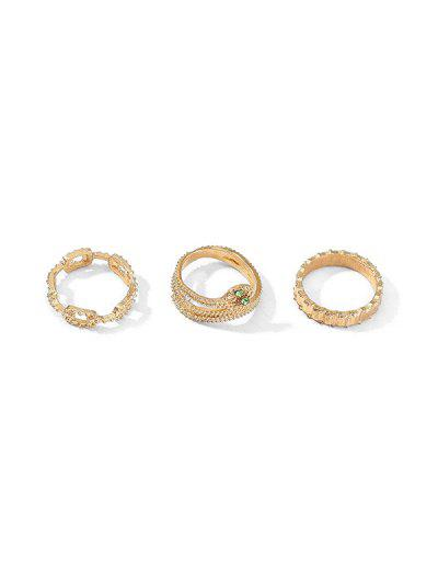 3Pcs Carved Snake Ring Set