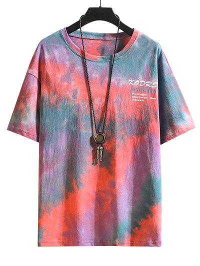 Tie Dye Letter Graphic Basic T-shirt - Multi-b S