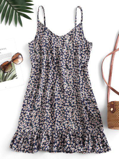 Ditsy Print Flounce Hem Mini Dress - Cadetblue Xl