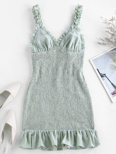 ZAFUL Smocked Ruffled Bodycon Dress - Cyan Opaque M