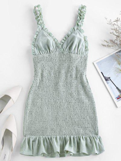 ZAFUL Smocked Ruffled Bodycon Dress - Cyan Opaque S