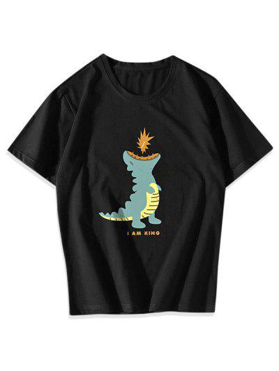 T-shirt Graphique Dinosaure Dessin Animé - Noir Xs