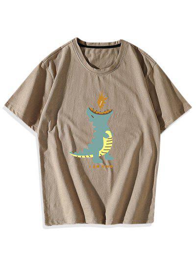 Camisa Dinossauro Dos Desenhos Animados - Cor De Caqui S