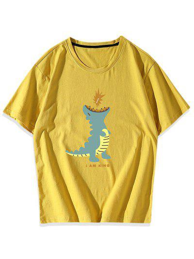 Cartoon Dinosaur Graphic T-shirt - Yellow Xs