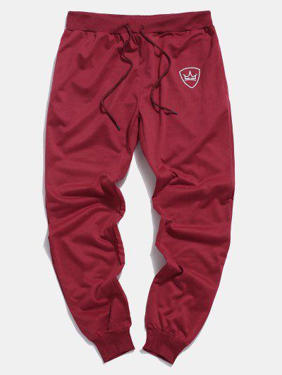 Pantalones Trotar Corona Cordón Ajustable Bolsillo - Rojo M