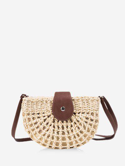 Semicircle Crochet Crossbody Bag - Beige