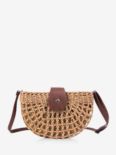 Semicircle Crochet Crossbody Bag - Caramel