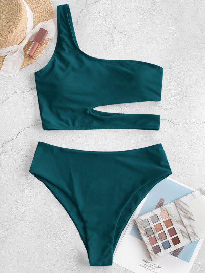 ZAFUL Neon Skew Collar High Cut Cutout Tankini Swimsuit - Greenish Blue S