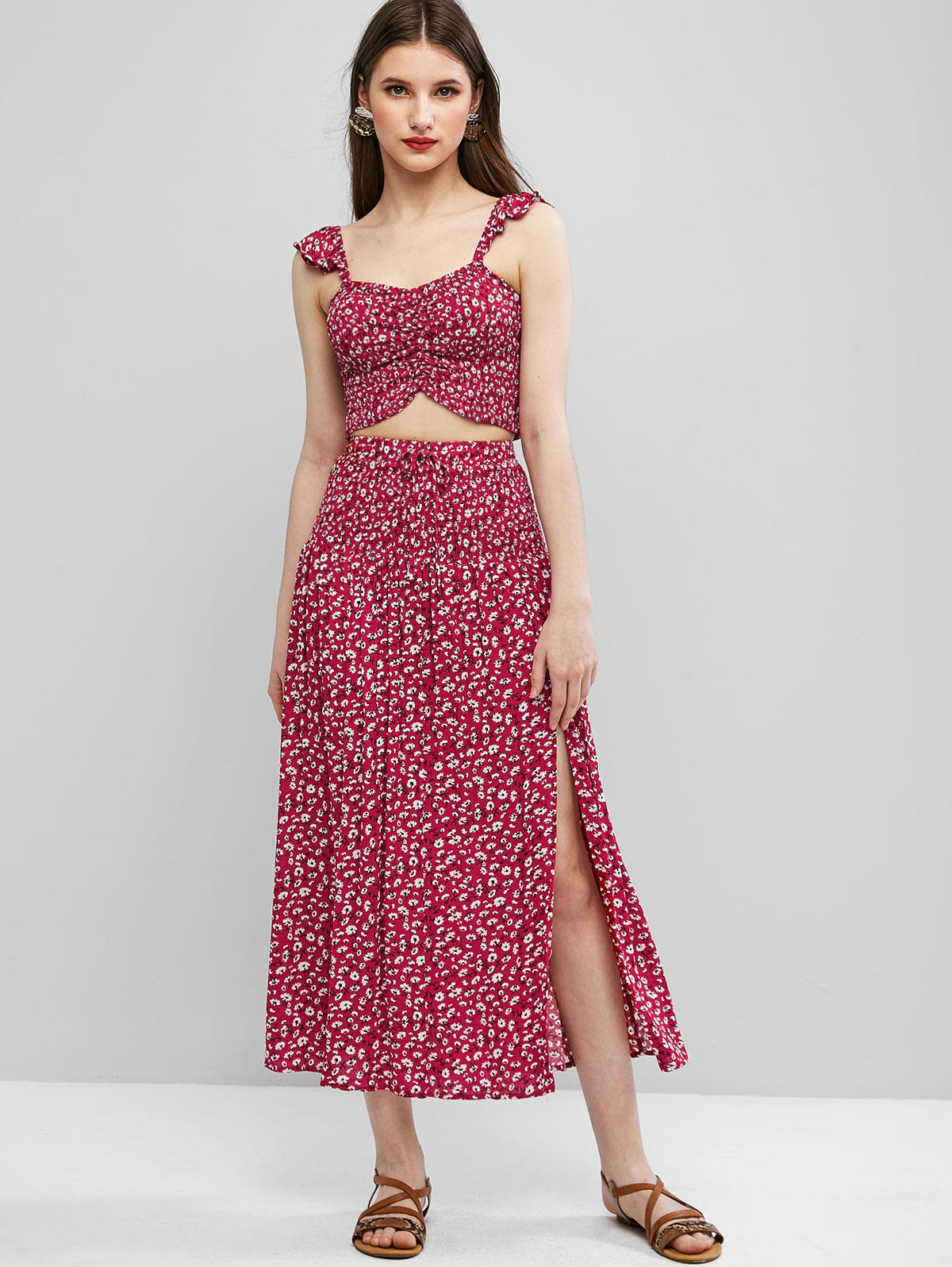 Ditsy Floral Smocked Slit Two Piece Dress