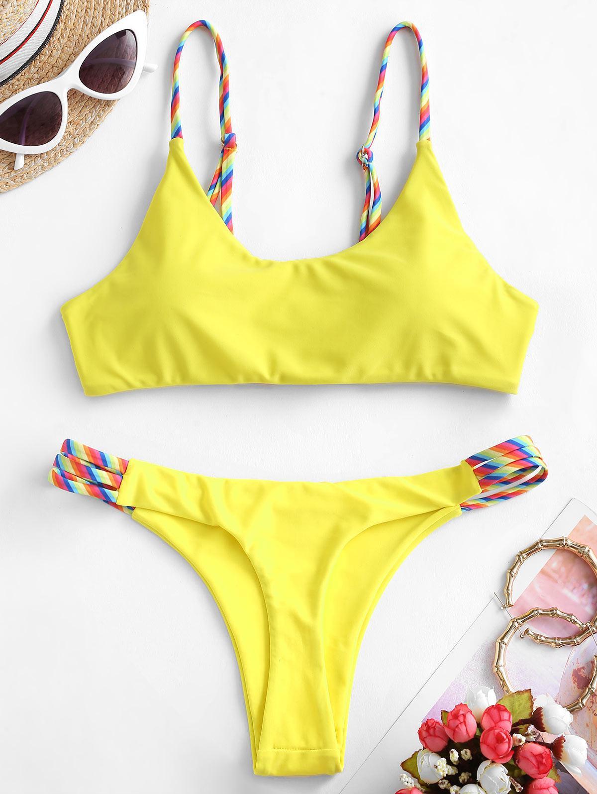 ZAFUL Rainbow Ladder Cut High Leg Bikini Swimwear thumbnail