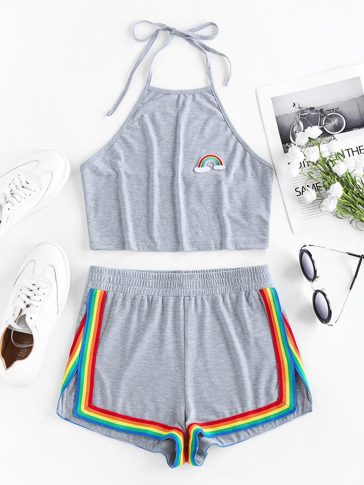 ZAFUL Rainbow Halter Slit Shorts Set