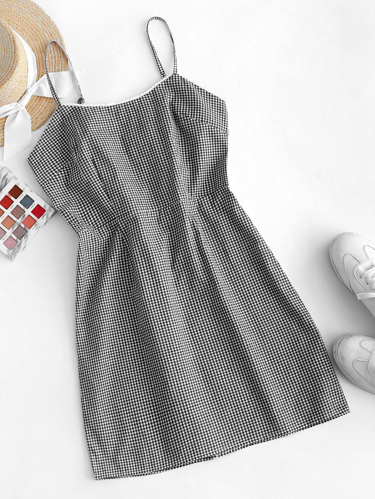 Picot Trim Gingham Cami Dress