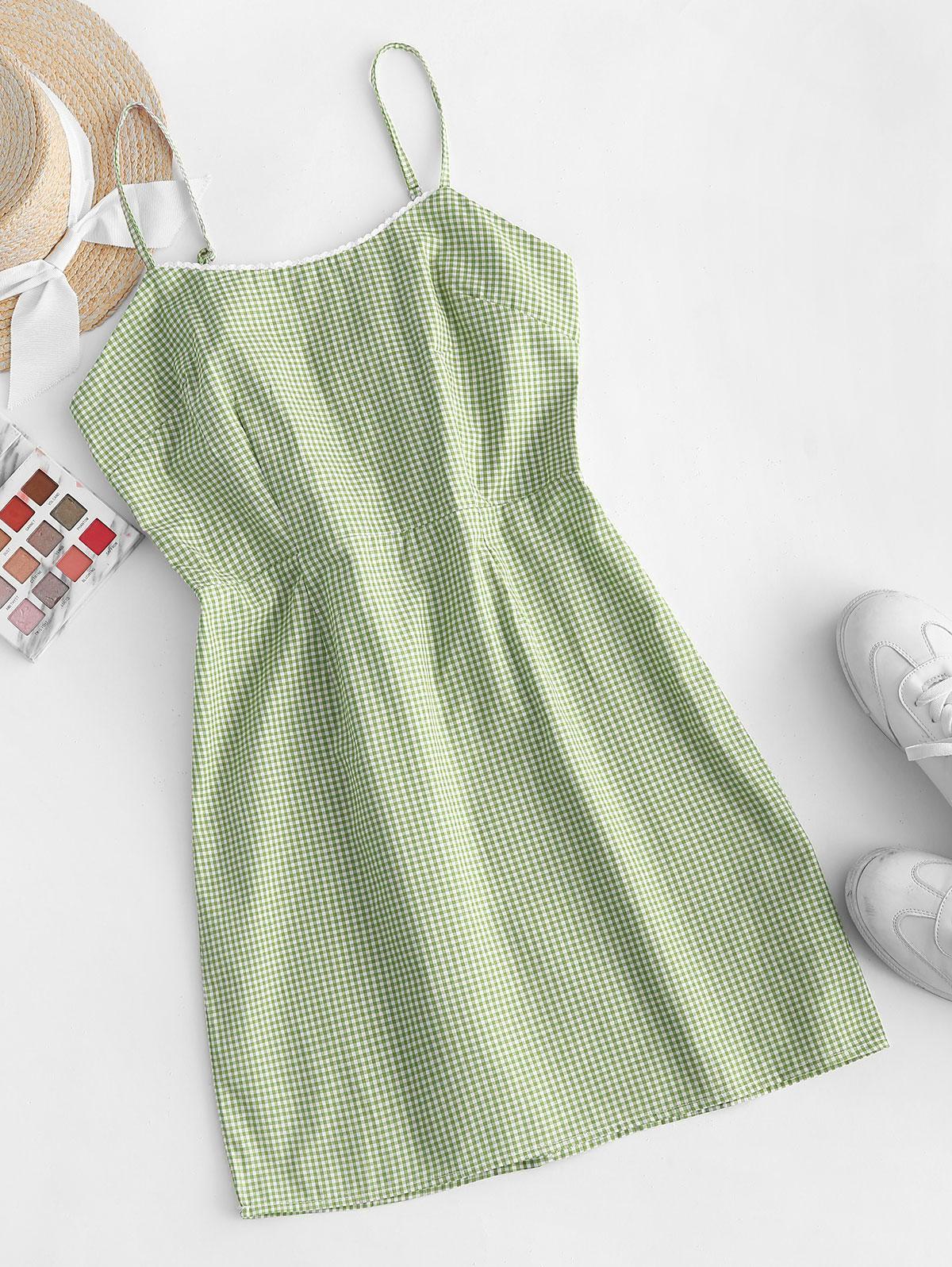 Picot Trim Gingham Cami Dress