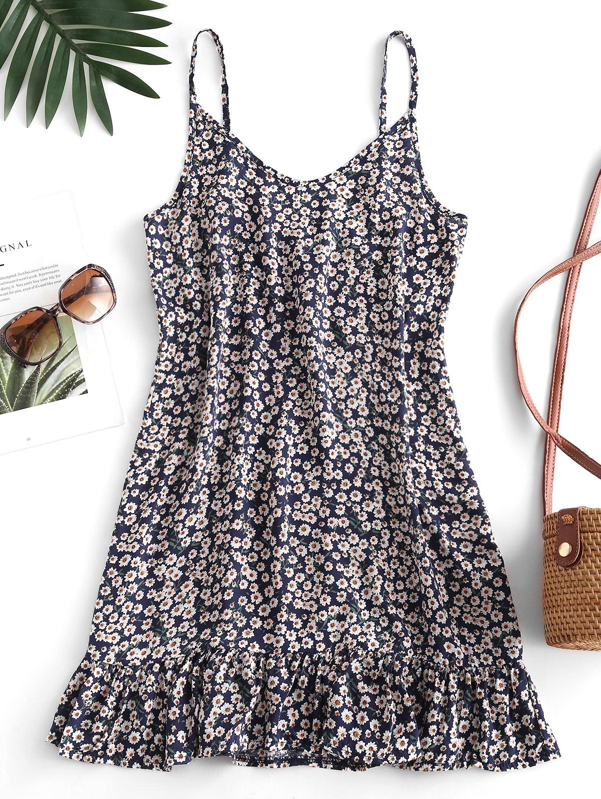 Ditsy Print Flounce Hem Mini Dress