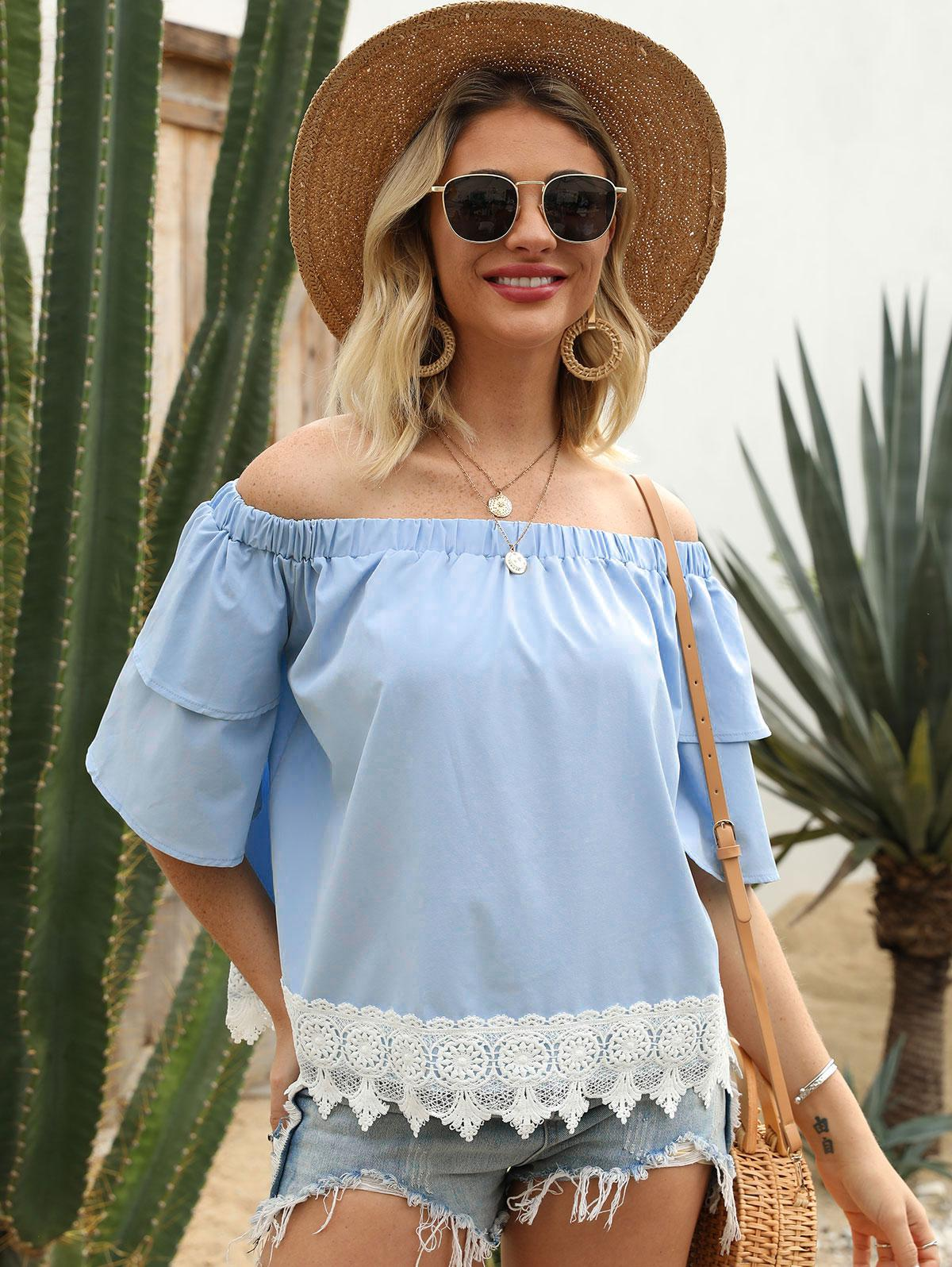 Off Shoulder Guipure Insert Layered Sleeve Blouse