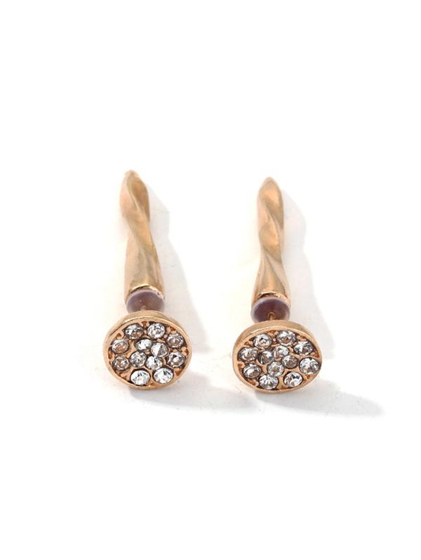 Screw Spike Rhinestone Earrings