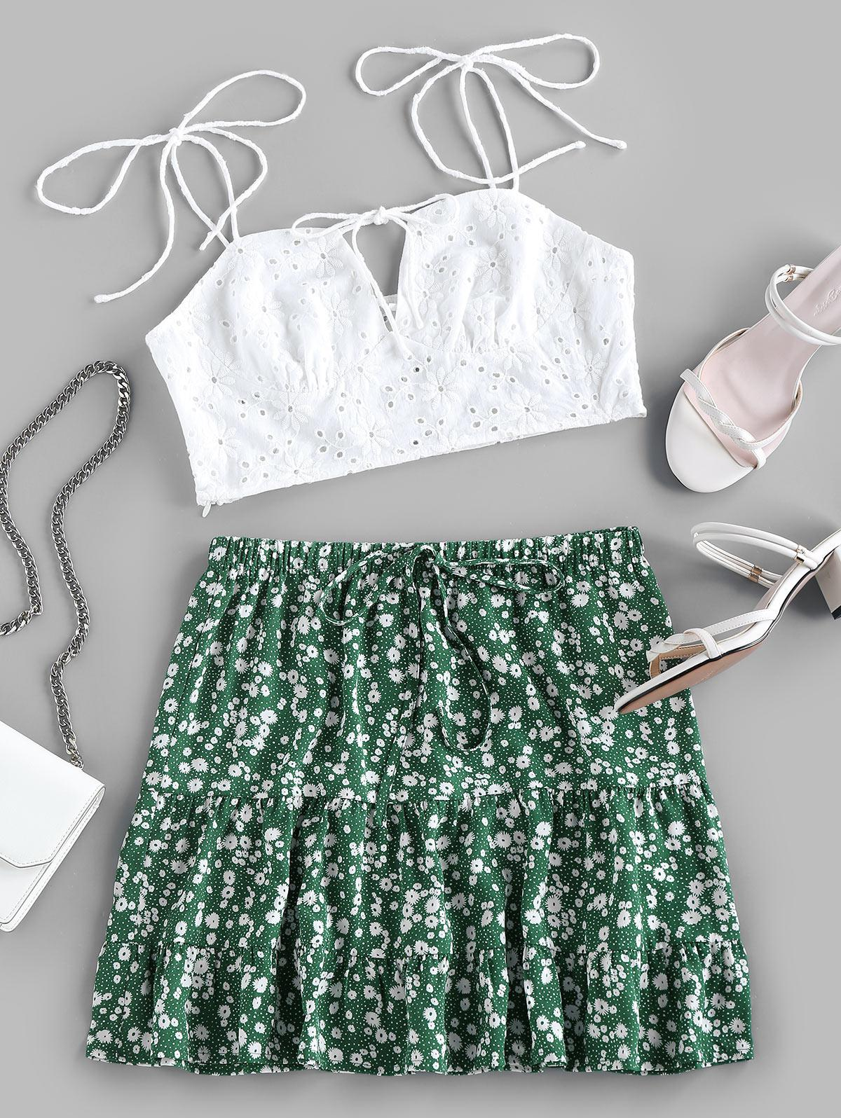 ZAFUL Embroidery Eyelet Tie Ditsy Floral Two Piece Set
