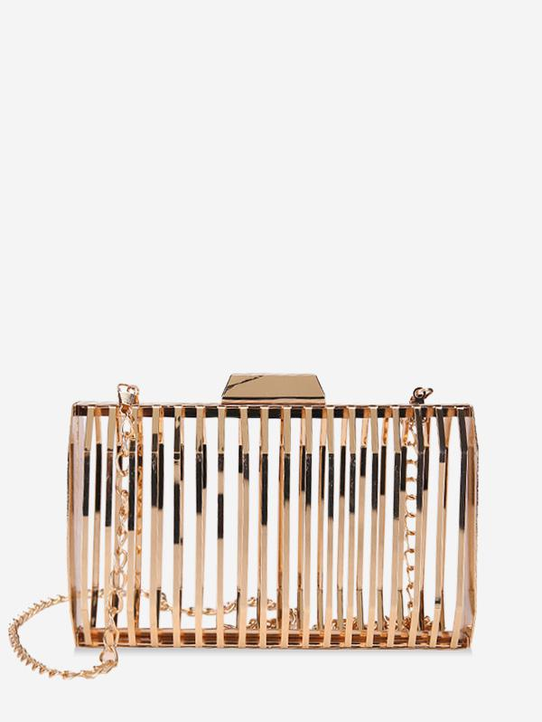 Metallic Hollow Out Hasp Chain Crossbody Bag