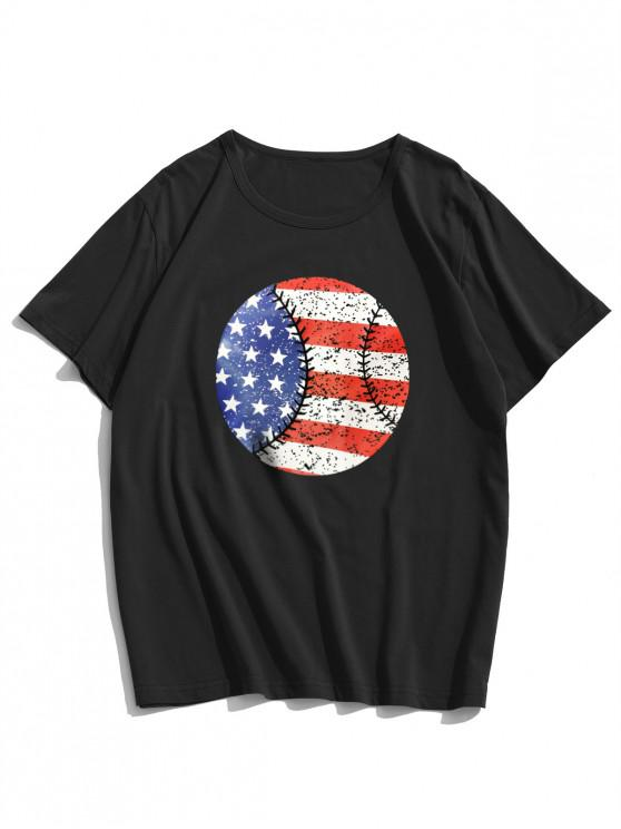 American Flag Round Graphic Lounge Short Sleeve Tee - أسود XS
