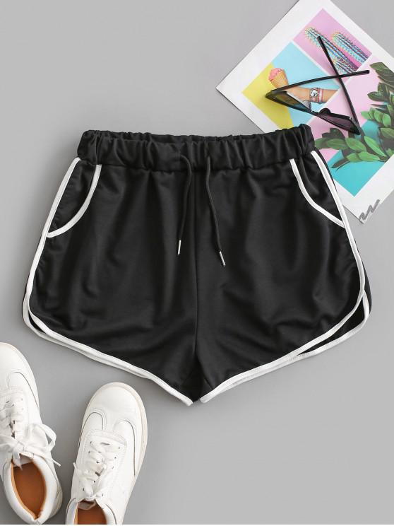 affordable Drawstring Running Shorts - BLACK L