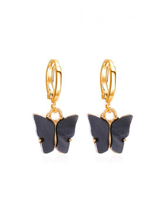 Pendientes de Clip de Mariposa de Acrílico - Negro