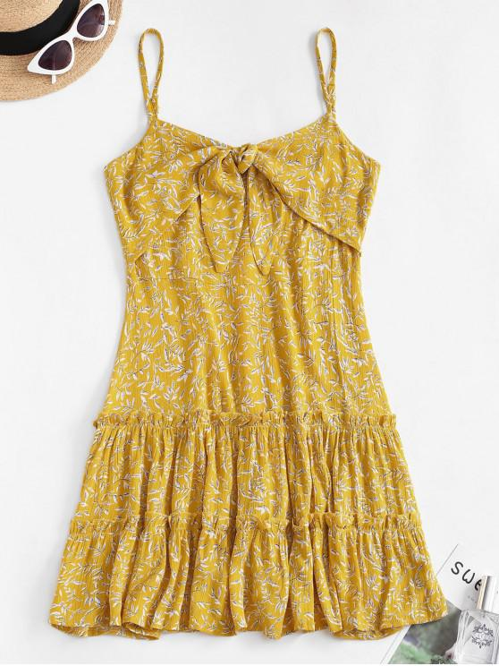 best Ditsy Leaf Knotted Cami Flounce Dress - YELLOW L