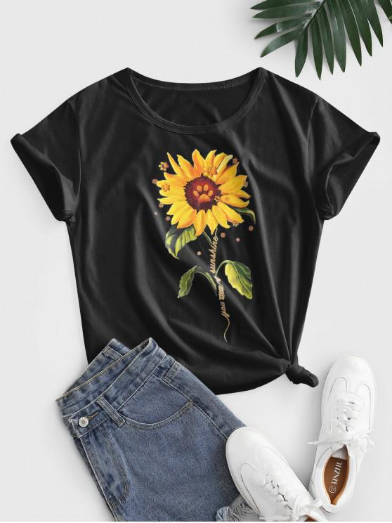 hot Knotted 3D Sunflower Print Basic Cotton Tee - BLACK L