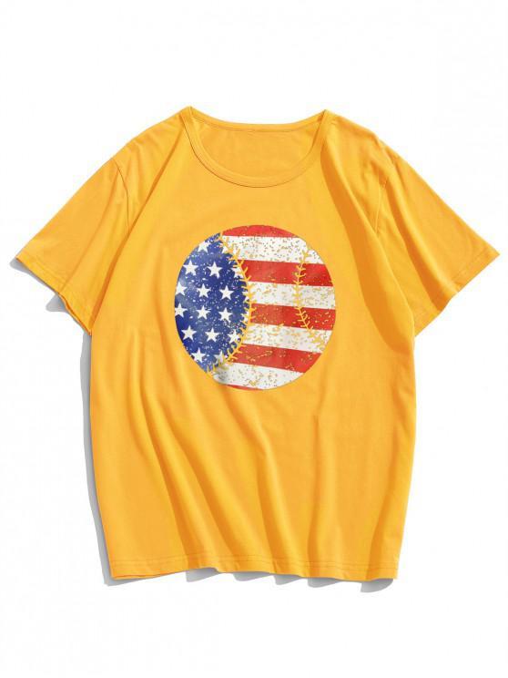 Camiseta Mangas Cortas Estampado Bandera Americana - Amarillo M