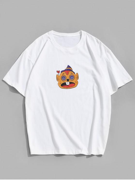 buy Short Sleeves Cartoon Pattern Funny Tee - WHITE 3XL