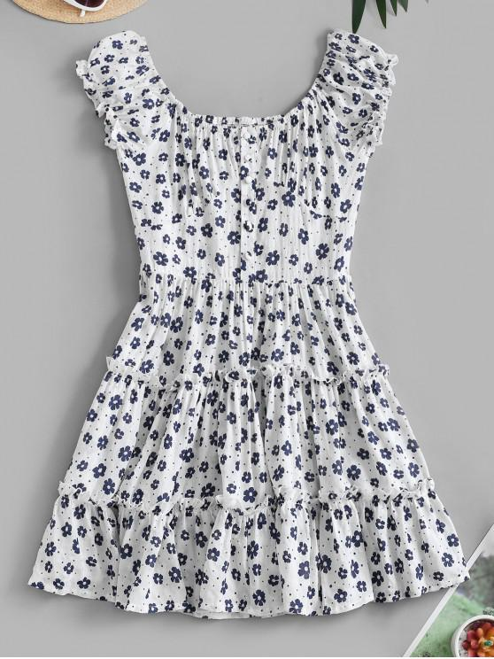 hot Ditsy Floral Flounce Smocked Back Milkmaid Dress - WHITE S