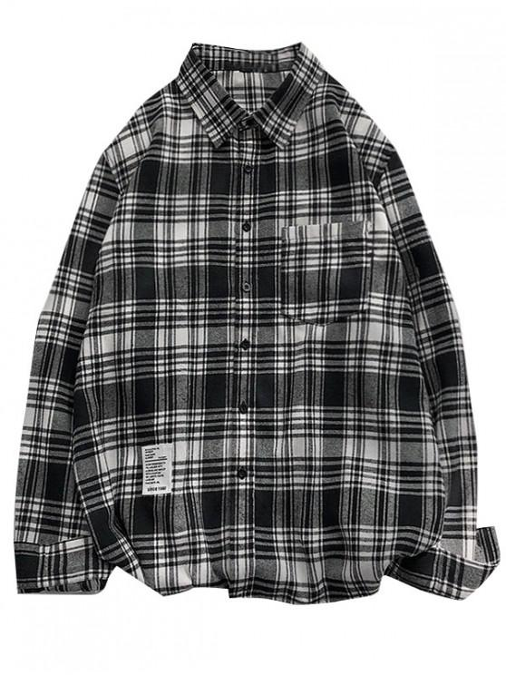 Plaid Printing Pocket Long-sleeved Shirt - أسود S